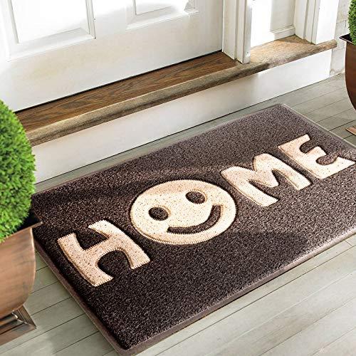 """Mrs Sleep zerbino di benvenuto con stampa della scritta """"Home"""" con smile, tappeto per ingresso antiscivolo, lavabile Black Khaki Smile"""