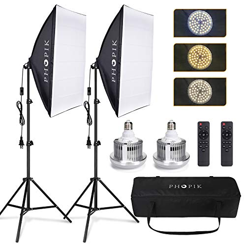 PHOPIK Softbox Lighting Kit 2X20X28 inch Professional Continuous Studio Photography Photo Studio Equipment with 6500K Energy Saving Light Bulb for Portraits and Product Shooting