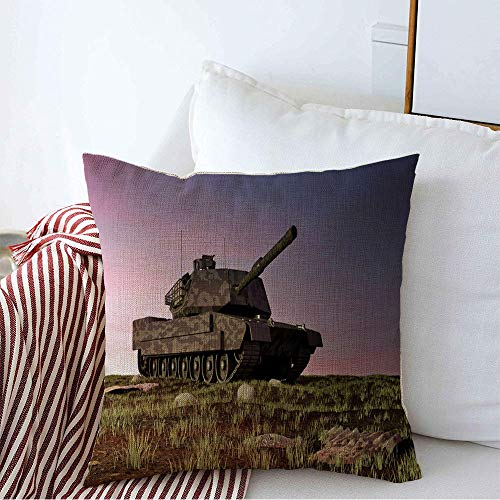 Decorative Throw Pillow Cover Abrams Heavy Field Tank Battlefield Landscape Sunset Miscellaneous Technology Armed Armor Armored Cozy Square Cushion Covers 20 x 20 Inches for Bench Bedding Car