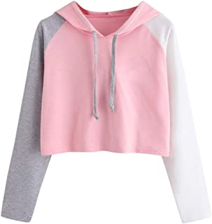 UJUNAOR Womens Girls Crop Hoodie New Cropped Hooded Hoody Sweatshirt Plain Jumper Heavy Sweat Pullover Tops Sizes