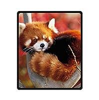 YISUMEI毛布毛布ソフトフランネルソフトフリース毛布ベッド投げ面白いかわいいレッサーパンダ、ポリエステル、白、150 x 200 cm