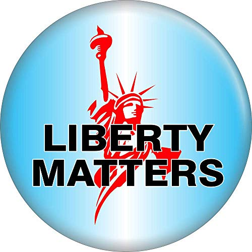 """Liberty Matters - Statue of Liberty on Blue - 2.25"""" Round Magnet"""