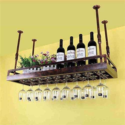 NSYNSY Casier à vin Suspendu casier à vin en métal monté, Fer rétro européen Suspendu à la bière à l'envers et Porte-gobelet inversé pour Cuisine/Bar/Restaurant (Couleur: Bronze, Taille: 50 * 3