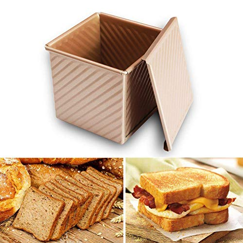 Toast Box Champagne Corrugated Non-stick Aluminum Toast Box with Lid Thick Pullman Loaf Pan Bread Mold Aluminum Alloy(2 Styles Sent Randomly)