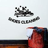 Logotipo calcomanías de pared zapatos servicio de limpieza puertas y ventanas pegatinas de vinilo lavandería tintorería decoración de interiores murales