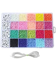 Seed Beads, 3300 PCS Letter Beads and Pony Beads 24-Grid Craft Bead with Rope Mini Seed Beads Set for Jewelry Making Bracelet Beads Finding DIY Crafts(4mm)