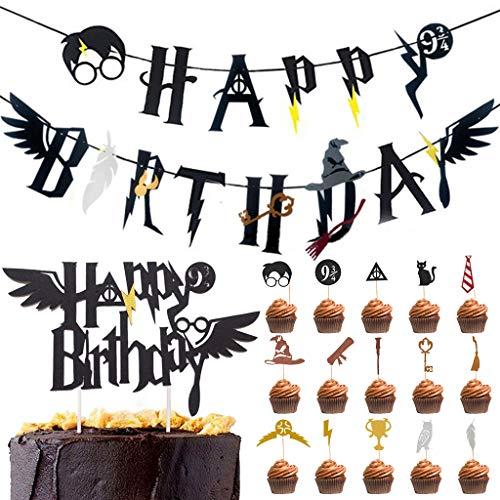 Amycute Bandera de Happy Birthday y Cupcake Topper Decoracion de Fiesta Mago Cumpleaños Suministros para la Fiesta de Mago
