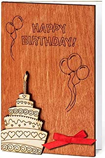 Handmade Sustainable Wooden Happy Birthday Card B-day Cake w Candle Inside Bday Balloons and Confetti Unique Gift Idea Best Anniversary Congratulations Present for Man Woman Baby Child Kid Business e