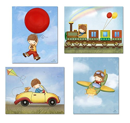 Posters for Boys Room Illustrations Kids Bedroom Artwork Baby Nursery Wall Decor 8x10 / 11x14 Set of 4 Unframed Prints Custom Hair and Skin Color