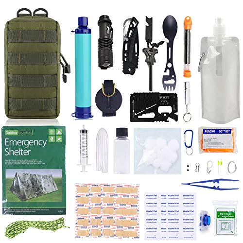 GRULLIN Kits de Survie d'urgence Gear, 60-en-1 Outdoor IFAK Trauma Pouch Trousses d'outils de Premiers Soins avec Filtre à Eau, Tente d'urgence pour Camping randonnée pêche, Cadeaux pour Hommes