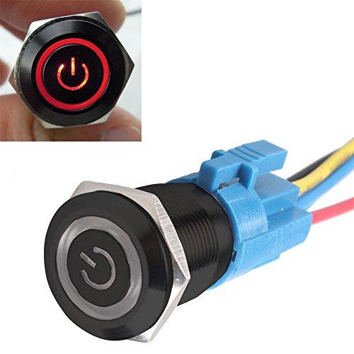 Mintice™ boîtier noir 16mm symbole de puissance Rouge LED Oeil d'ange 12V bouton poussoir voiture interrupteur à bascule en métal Prise de courant