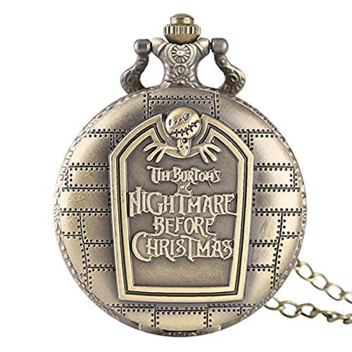 JTWMY Einzigartige Taschenuhr Vintage Nightmare Design Bronze Große Quarz Taschenuhr Geschenke-A