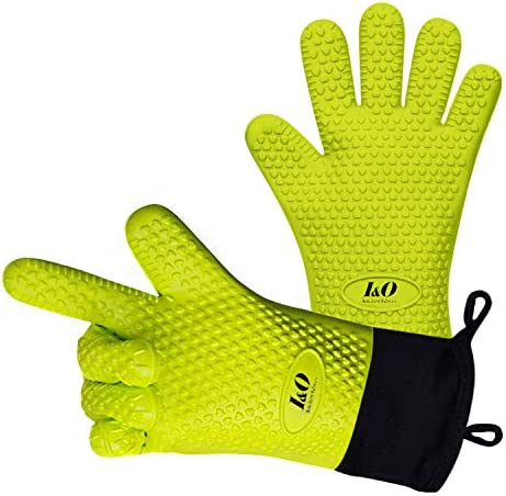 I O BBQ Gloves Oven Mitts Heat Resistant Grilling Gloves Silicone Cooking Gloves ColorfulLong product image
