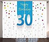 ABAKUHAUS Party Rustikaler Vorhang, Geburtstag Konfetti, Wohnzimmer Universalband Gardinen mit Schlaufen und Haken, 280 x 260 cm, Mehrfarbig