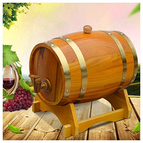 Decoraciones Barril Vino Cubo Whisky Barril Madera, Dispensador Agua Retro Barril Roble, 1.5L / 3L / 5L / 10L Guarsu Propia Cerveza, Vino Tinto, Tequila, Ron