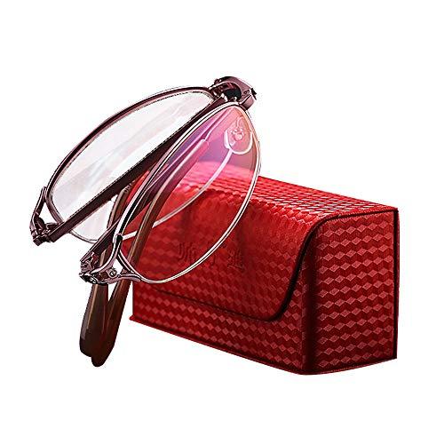 Dames roze half montuur vouwbril, slijtvaste krasbestendige harslens veiligheidsbril tegen vermoeidheid, metalen veerscharnier glazen, geschikt voor Presbyopie