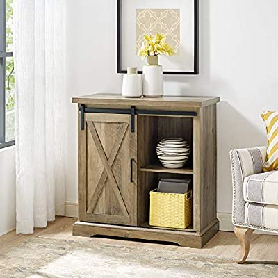 WE Furniture Modern Farmhouse Buffet Entryway Bar Cabinet Storage, 32 Inch, Brown Reclaimed Barnwood
