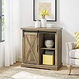 WE Furniture Modern Farmhouse Buffet Entryway Bar Cabinet Storage, 32 Inch, Brown Reclaimed Barnwood