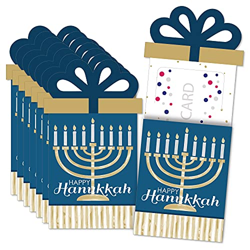 Big Dot of Happiness Happy Hanukkah - Chanukah Holiday Party Money and Gift Card Sleeves - Nifty Gifty Card Holders - Set of 8