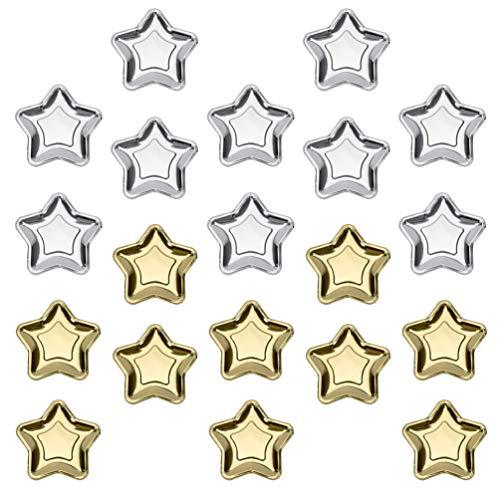Cabilock 20 Stück Gold Silber Pappteller Stern Dessertteller Pentagramm Einweg Party Teller für Vorspeisen Dessert Weihnachten Party Liefert