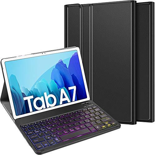 ELTD Tastatur Hülle für Samsung Galaxy Tab A7 (Deutsches QWERTZ), Hülle mit 7 Farben LED-Hintergrundbeleuchtung Kabellose Tastatur für Samsung Galaxy Tab A7 2020 10.4 Zoll, Schwarz