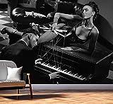 Vlies Tapete Fototapete Erotik Piano Marionette Corsage Farbe schwarz weiß, Größe 200 x 150 cm