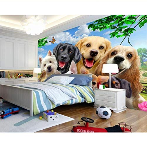 Nette Karikaturgras Auf Dem Hund Foto-Wandtapete Kinderzimmer Hintergrundbild Für Wände 3 D Papel De Parede