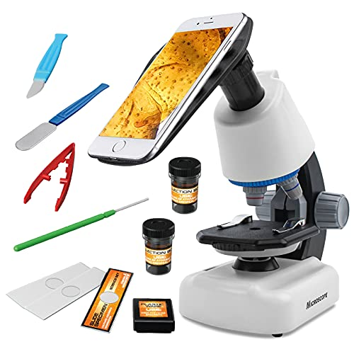 Beginner Microscope for Kids - Science Kits with 100X-1200X Compound High Microscope science experiment kit learning STEM toys with Plastic Slides Specimens best Children's Detective Kits for students