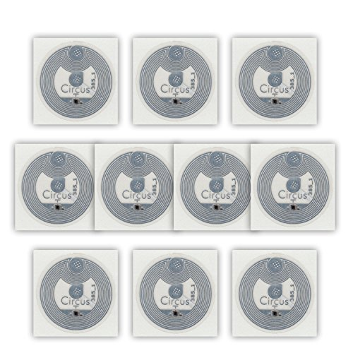10 NFC Tags Sticker NTAG213 - 144 Byte - Circus Ø22mm - transparent