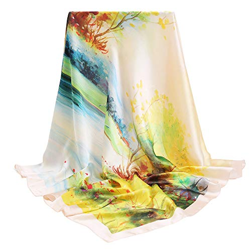 "100% Silk Scarfs for Women, vimate Gift Idea Luxury Ladies Silk Hair Scarf for Sleeping, Square 35""x 35"""