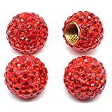 MECHCOS Car Wheel Tire Valve Caps, 4 Pack Crystal Rhinestone Car Tire Wheel Valve Stem Air Caps for Car Tire Accessories Universal for Cars, SUVs, Bicycle, Trucks and Motorcycles - Red