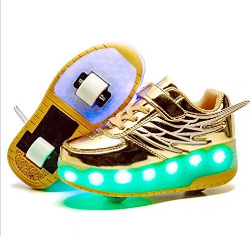 Unisex Kinder Rollschuh Schuhe Removable Werden Sport Trainer USB Lade-LED-Schuhe für Jungen Mädchen Räder Schuhe,Gold,38