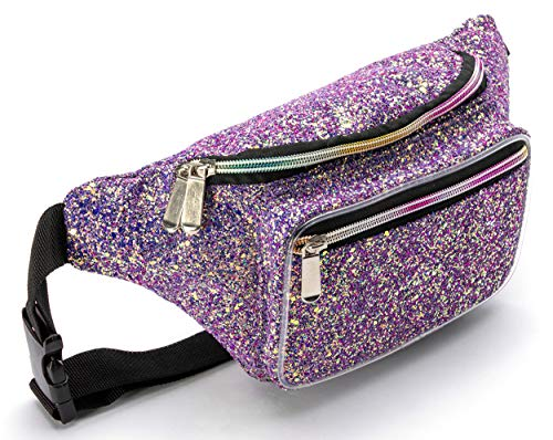 Holographic Purple Gravel Rave Glitter Fanny Pack For Women Grils Festival Waist Belt Bags - Purple Gravel