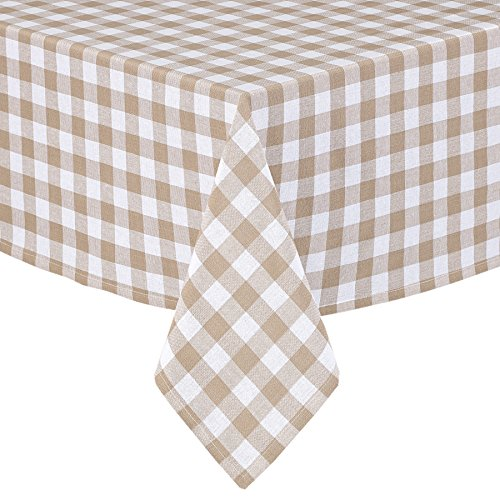 Buffalo Gingham Check Indoor/Outdoor Casual Cotton Tablecloth, Buffalo Plaid 100% Cotton Weave Kitchen, Patio and Dining Room Tablecloth, 52 x 52 Square, Sand