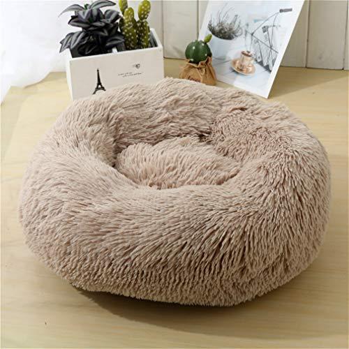 Camas para mascotas lavables de piel redonda donut Calma cama de perro mullida felpa, felpa, felpa, felpa, felpa, sacos de dormir estilo nido adecuados para mascotas grandes, medianas y pequeñas
