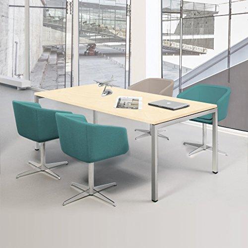 NOVA Besprechungstisch 160x80cm Ahorn 4-6 Pers. Konferenztisch Meetingtisch , Gestellfarbe:Silber