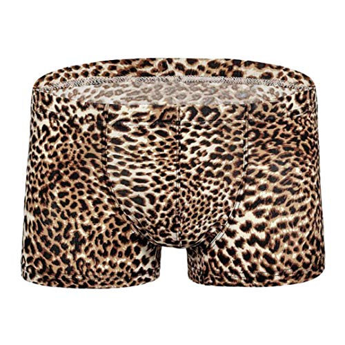 jascaela Mens Panties Wild Fashion Leopard Print Boxer Pants Breathable Underwear(Brown-XXL)