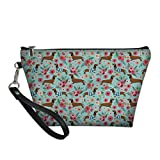 Bigcardesigns Lovely Dachshund Toilet Bag Organizer Portable Purse PU Leather Make-up Wallet for Women Girls
