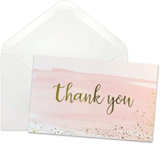 Thank You Cards Bulk - 48 Elegant Gold Foil Watercolor Thank You Blank Greeting Cards with Envelopes & Stickers for Baby & Bridal Shower, Wedding, Business - 6 x 8 Inches