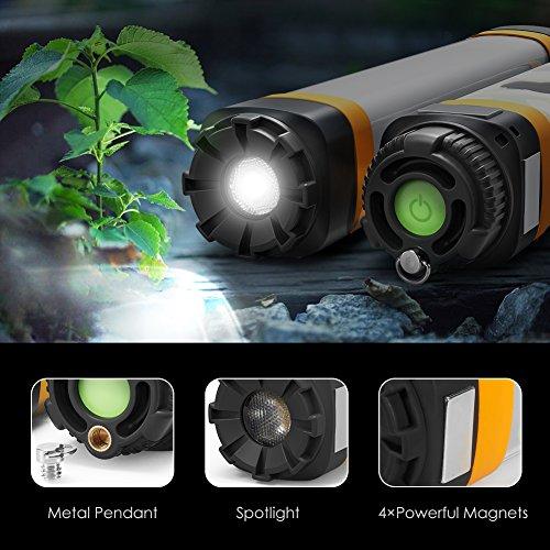 HiHiLL Taschenlampe, LED Campinglampe, Multifunktionale 6 in 1 Handliche USB Wiederaufladbare Lampe, LED Mehrzweck-Taschenlampe für Zelte Camping, IP68 Wasserdicht, 7 Modi Ultra Hell Light für Wandern, Notfall, Hurricane, Stromausfall