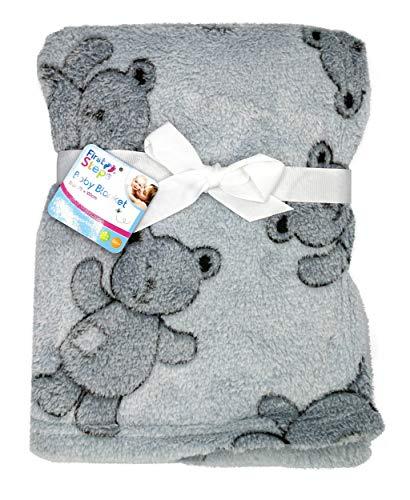 Soft Fleece Baby Blankets for Pram, Cot, Crib, Moses Basket | Grey Fluffy Teddy Bear Blanket