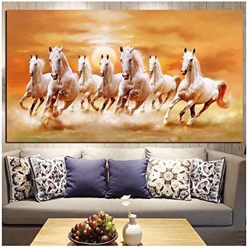 un known Cuadros Decoracion Salon Siete Caballos Blancos Corriendo Cartel de Pintura de Animales Sala de Estar decoración Mural del hogar 15.7x31.4in (40x80cm) x1pcs Sin Marco