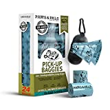 Paws & Pals Dog Poop Bag - Eco-Friendly, Large & Leak-Proof w/ Dispenser Holder & Leash Clip - Best for Walking Dogs Pet Waste - 360 Pack, 24 Roll Refills x 15 Bags - Heavy Duty, Scented, Blue