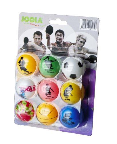 JOOLA Tischtennisbälle Fan Set 9er Blister Bunte Bälle mit Aufdruck, Multicolor, 40+ MM