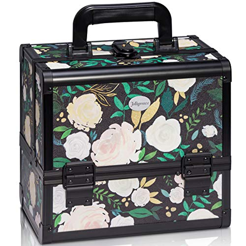 Joligrace Makeup Train Case Cosmetic Organizer Box Lockable with 3 Trays and a Brush Holder Pattern Collection White Flower
