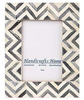Handicrafts Home 4x6 Picture Frames Photo Frame Chevron Herringbone Vintage Wooden (Grey) [並行輸入品]