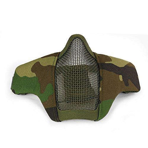 LEJUNJIE Verstellbare Halbmaske unter Dem Gesicht, Stahlnetz, Taktische Maske im Militär-Stil, bequem für Airgun/Jagd / Paintball/Outdoor / Radfahren, Woodland