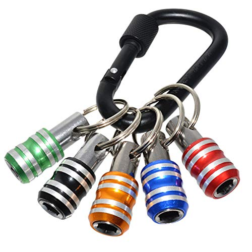 Famcry 5pcs 1/4 Inch Hex Shank Screwdriver Bits Holder Extension Bar Drill Screw Adapter Quick Release Easy Change Keychain (5 Colors)