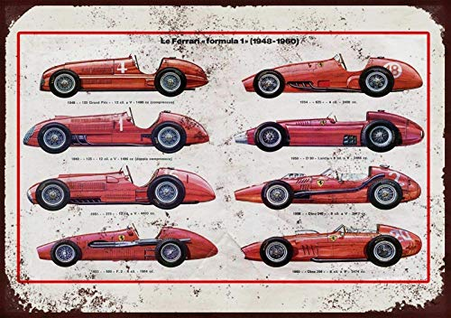 Ferrari Through The Ages Cartel de chapa vintage, cartel de cartel de metal, placa de pintura de hierro retro, decoración de pared artística, 12 × 8 pulgadas