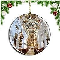 フラウエンキルヒェン教会オーストリアクリスマスデコレーションオーナメントクリスマスツリーペンダントデコレーションシティトラベルお土産コレクション磁器2.85インチ